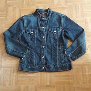 Levi's Dark Wash Distressed Denim Jacket
